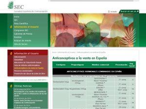Figura 8. Página web de la Sociedad Española de Contracepción.